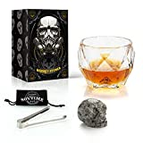 Skull Whiskey Stone and Glass Gift Set | Octagon Luxury Glass(550 ml), Reusable Hand Carved Skull Bone Chill Rocks, 100% Natural Pure Granite | Ideal Novelty Gifts for Men and Whisky Lovers
