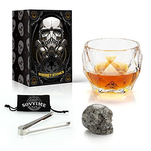 Juego de Regalo de Cristal Y Piedra de Whisky Con Forma de Calavera, 2 Whisky Glass Set,Accesorios Para Mini Bar de CóCteles Hueso De Calavera Tallado,Regalo Ideal Para Hombres Y Amantes Del Whisky