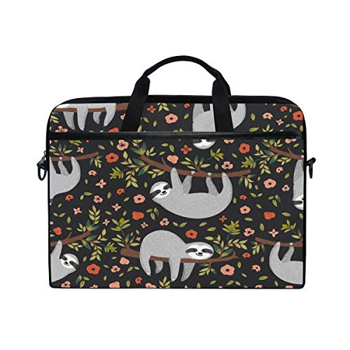 JOKERR Laptop Case Bag Animal Sloth Floral Tree 14 inch to 14.5 inch Briefcase Messenger Computer Sleeve Tablet Bag with Shoulder Strap Handle for boys girls
