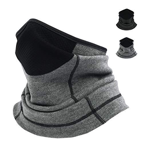 POWERLAND Cache Cou Tubulaire Hiver Multi-Usage Unisexe Doublure en Polaire Thermique élastique Protecteur de Cou, Multifonctionnelle en Multi-Usage Bandana Respirant Bandeau Ultra-Douce Foulard(gris)