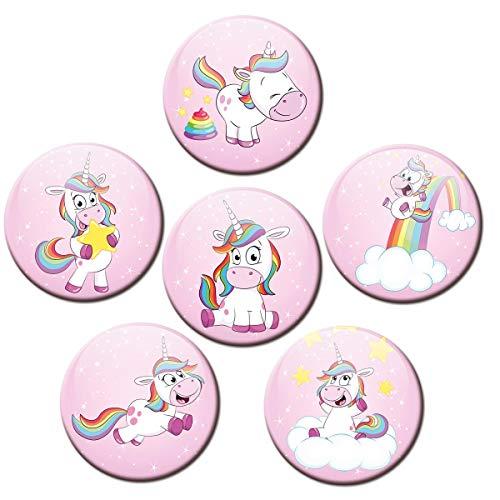 Kühlschrankmagnete Einhorn Rosa 6er Deko Geschenk Set Magnete Tiere lustig für Kinder Mädchen Frauen stark groß 50mm rund Bunt