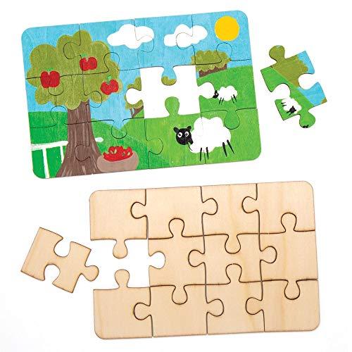 Baker Ross Puzzles aus Holz (8 Stück) – Blanko-Puzzleteile für Kinder zum Verzieren