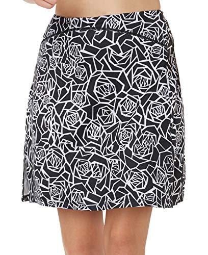 slimour Women Print Golf Skirt Travel Skirts with Pocket Swim Skirt High Waist with Shorts Black Rose S