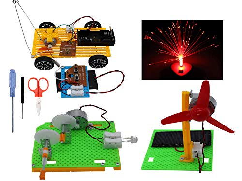 Science Kits, Educational Stem Engineering Products,4 Set Assembly DIY Kits for Kids or Teens, Model Car,Solar Panel Fan,Hand Crank Generator,Fiber Optic Lamp.