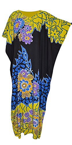 Cool Kaftans JOHORE Amazing Floral Soft Kaftan Kaftan Cool Lange Damen Sommerkleid Plus Robe Jilbab Marokkaner (Freesize Fits UK 8 to 34, Black Yellow Blue)
