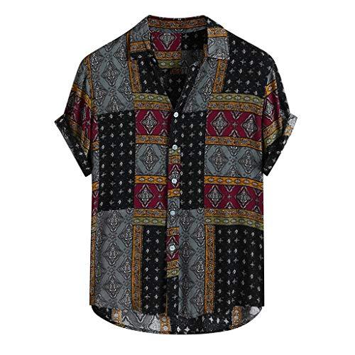 Xmiral Camicette Camicia Casual Casual da Uomo a Maniche Corte Estiva Stile Etnico (XXL,10Rosso)