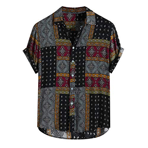 Mens Ethnic Style Hawaiian Shirt Loose Short Sleeve Casual Buttons Beach Party Holiday Tops Red