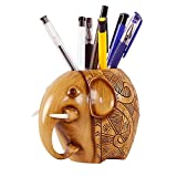 AKAMAS Soporte para lápices de elefante, diseño de madera con diseño de elefante, soporte para lápices de madera
