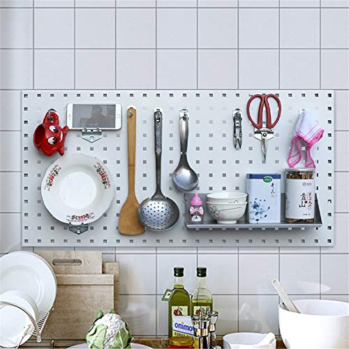 Yamyannie Pegboard Hooks Tools Organizer Garage Wall Tool Rack Storage Shelves for Home Shed Workshop or Garage Tool Storage (Color : White, Size : 100x50x0.1cm)