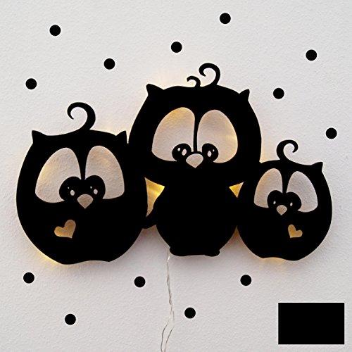 ilka parey wandtattoo-welt Lampe Murale Lampe Luminaire pour Enfants Snooze Chouettes sericealis Lilo, Pit et Flo avec Points m1752