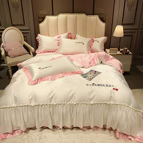 funda de edredón de lino-Princesa feng shui lavado seda simple color bordado encaje bicicleta encuadernación bizcocho sábanas abajo acolchado almohada zócalo conjunto-mi_1,8 m de cama (4 piezas)