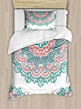 Ambesonne Oriental Duvet Cover Set Twin Size, Soft Colored Mandala South Culture Inspired Floral Image, Decorative 2 Piece Bedding Set with 1 Pillow Sham, Turquoise Coral