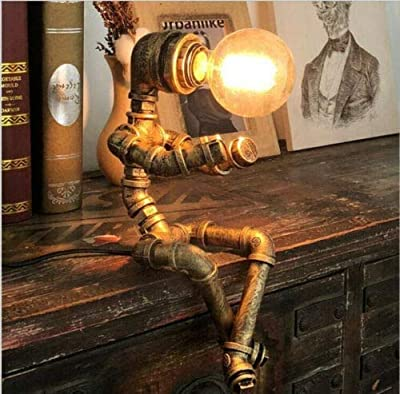 Retro Industrial Water Pipe Steampunk Robot Table Lamp Office Home Lights