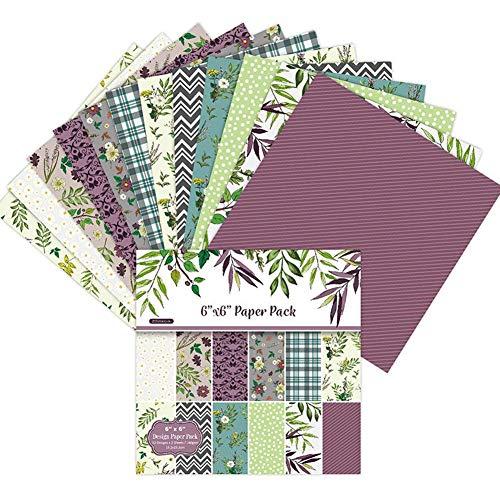 Floral Scrapbooking Papier Gemustertes Papier Motivblock vintage Exquisite Karton Papier Block 12 verschiedene Muster 24 Blatt zum Basteln für Grußkarten, DIY, Karten,Basteln,Dekoration (6x6inch)