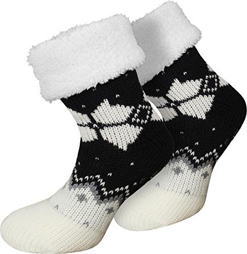normani Damen Winter Hausschuhe mit Plüsch Farbe Norweger/Schwarz Größe 36/40