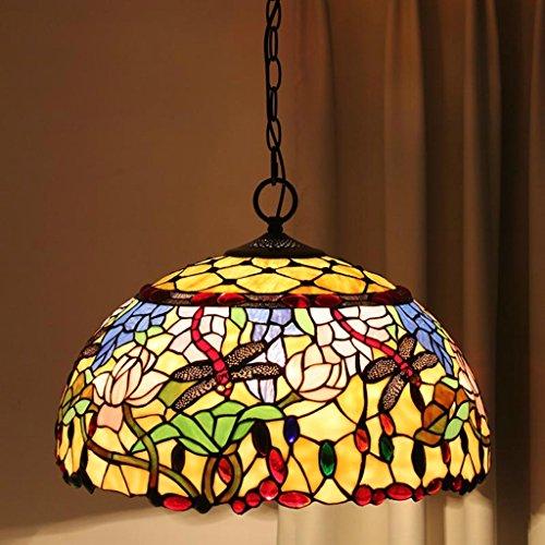 lustre Tiffany 18 pouces classique européen verre Lampes Villa Appartement Salon Chandelier Retro Cafe Repas Lustres