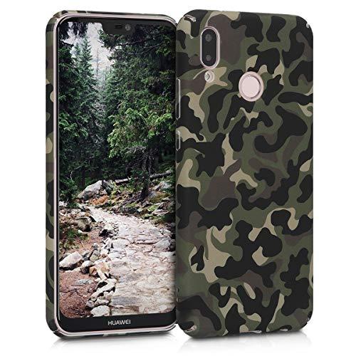 kwmobile Huawei P20 Lite Hülle - Handyhülle für Huawei P20 Lite - Handy Case Cover Schutzhülle - Camouflage Design Dunkelgrün Dunkelbraun Beige