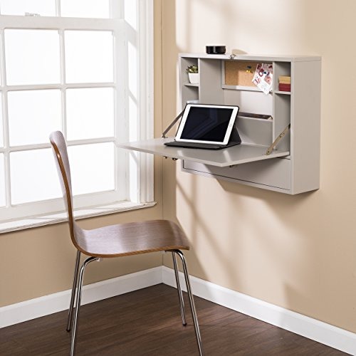 Warm Gray Floating Wall Desk - Fold Down Minimalist Work Space - 4 Storage Compartments