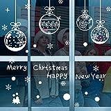 ASANMU Pegatinas de Navidad Pegatinas de Ventana 4 Hojas DIY Decoración de la Ventana Extraíble Copo Pared Decorativos Calcomanía de Ventana PVC sin Adhesivo para Ventanas Vidrios Decoración (Pelota)