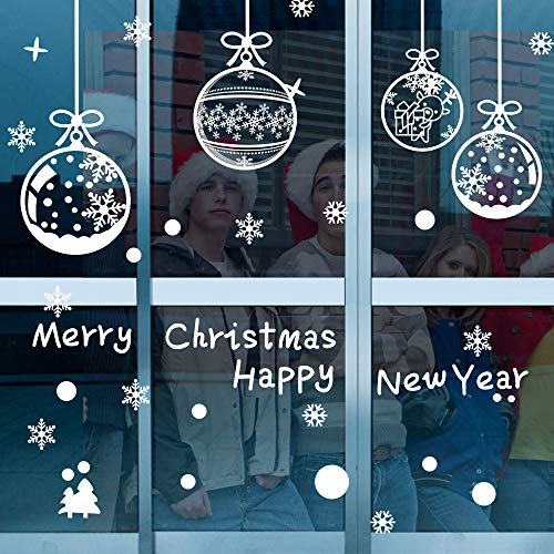 ASANMU Fensterbilder Weihnachten Fenstersticker 4 Stücke 43*30 cm Weihnachtsdeko Fensterbilder Wiederverwendbare Winter Fenster Aufkleber Wandtattoo PVC Sticker Schneeflocken (Weihnachtskugel Hängen)