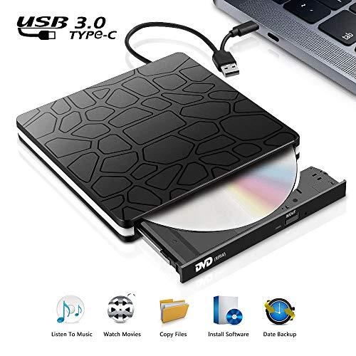 Externes CD DVD Laufwerk, tragbarer USB 3.0-CD/DVD-RW-Brenner Typ C, rauscharmes Hochgeschwindigkeitsgerät für Laptop, Desktop, WIN98 / 7/8/10 / XP/Vista/Mac OS