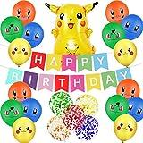 23Pcs Cumpleaños Decoración - Miotlsy Suministros Fiesta Cumpleaños, para Niños y Niños Decoración Cumpleaños Incluye Globo Banner Decoración para Tarta Cumpleaños