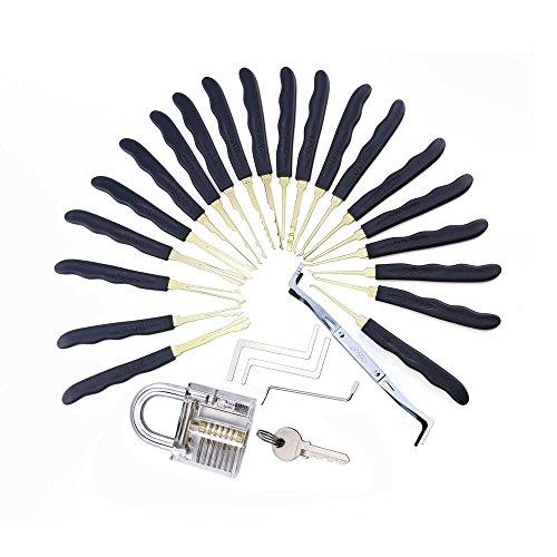 loboo hoge kwaliteit roestvrij staal 24 stks GOSO Lock Picks Lockpick Slotenmaker Fast Lock Opener met lederen tas + transparante hangslot Practice Lock