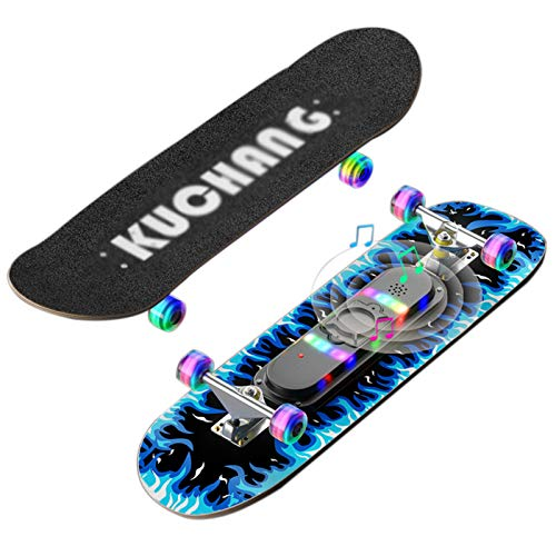 OLAC Skateboard 31'x 8' Double Kick Maple Wood Flash Wheel Music Glow Patineta Profesional Completa para Niños, Adultos Y Principiantes