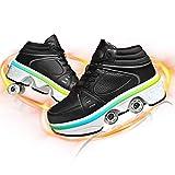 YXRPK Zapatillas LED con Ruedas Deformables Patines Zapatos Luces de Colores, Unisex Niñas Niño Skate de Calzado de Deportes de Exterior