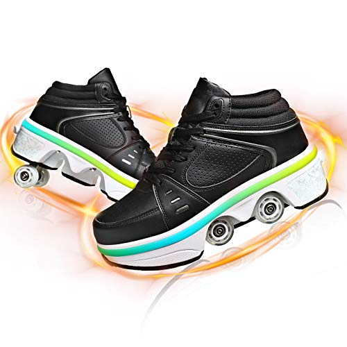 HealHeaters Double-Row Deform Wheel Roller Skates LED Automatic Walking Shoes for Women Men Invisible Deformation Parkour Shoes 2 in 1 Removable Pulley Shoes,Black,35