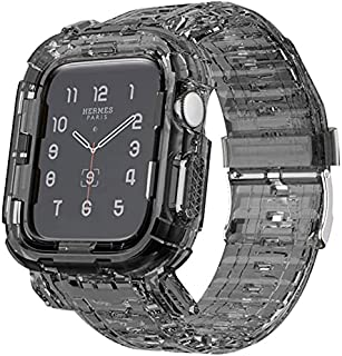 Transparent Integrated Watch Bands Case for Apple Watch Series 6 /SE/5/4, iWatch 44mm/42mm Clear Watch Strap Bumper (Clear...