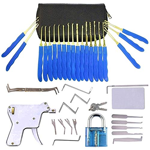 Dietrich Set, mit transparenten Vorhängeschloss und Lockpick-Pistole und 5-in-1 Kreditkarte Lockpicking-Set, für Anfänger und Professionelle Lockpicker
