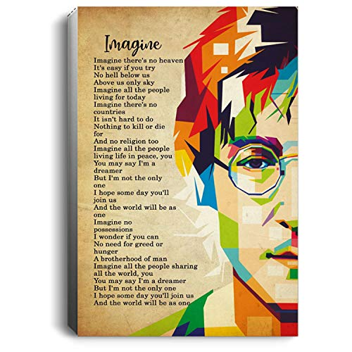 The Beatles John Lennon Imagine Lyrics Portrait No Framed (24 X 36)