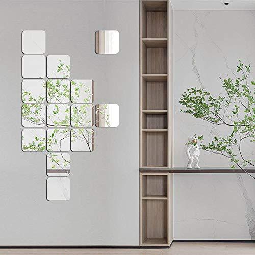 SUNIY Dekorative Wandspiegel, Abnehmbare Spiegel, Acryl Wandaufkleber Spiegelfliesen Selbstklebend für Zuhause, Wohnzimmer, Schlafzimmer, Dekoration (quadratisch mit abgerundeten Ecken, 15 Stück)