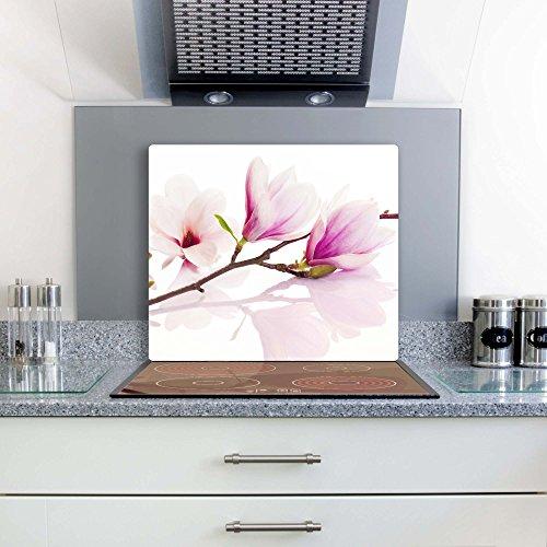 FTB Gsmarkt Herdabdeckplatte Schneidebrett 60x52 Glasbild Blume