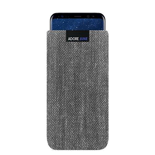 Adore June Business Tasche für Samsung Galaxy S8 Handytasche aus charakteristischem Fischgrat Stoff - Grau/Schwarz | Schutztasche Zubehör mit Bildschirm Reinigungs-Effekt | Made in Europe