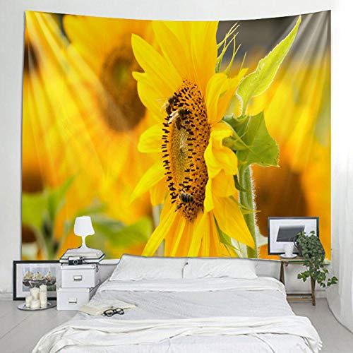 WAXB Tapiz Colgante De Pared Cama Extender Toalla De Playa Mantel Estera De Yoga Home DEC Diseño Floral Rectángulo De Girasol Decoración del Hogar, Regalo, 51 X 59 Pulgadas