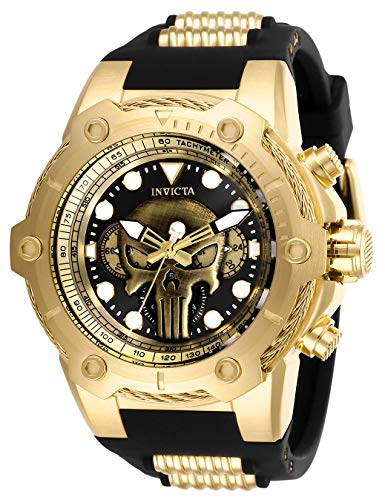 Invicta Men's Marvel Stainless Steel Quartz Watch with Silicone Strap, Black, 30 (Model: 26925)