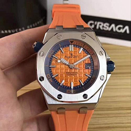 GFDSA Reloj mecánico automático de Acero Inoxidable para Hombres, Relojes Deportivos de Zafiro, Buzo, Caucho Negro, Vidrio Plateado, Naranja