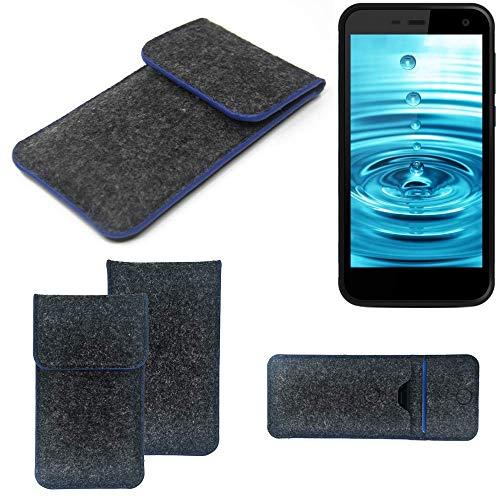 K-S-Trade® Filz Schutz Hülle Für Energizer H500S Schutzhülle Filztasche Pouch Tasche Case Sleeve Handyhülle Filzhülle Dunkelgrau, Blauer Rand