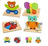 Puzzle de Madera, Juguetes Montessoris, Puzzle Bebé, Rompecabezas de Madera Bebe, Juego Educativo Bebé para Niños 2 3 Años Aprendizaje Temprano Regalo Navidad Cumpleaños Fiesta(4 Pcs)