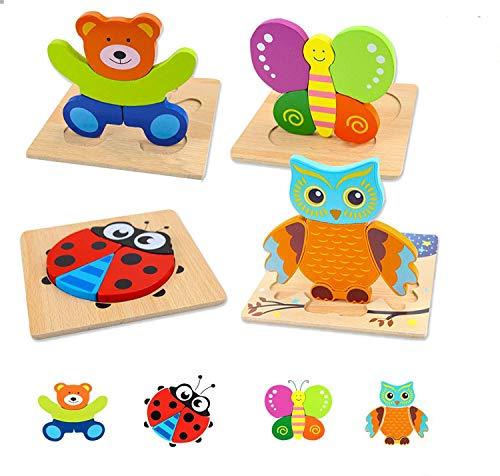 Puzzle di legno per Bambino Bambina Gioco Educativo,Giocattoli Animali Puzzle in Legno,Montessori Educativi Gioco Blocchi di Modello Regalo per 2 Anni Bambini Ragazza Ragazzo