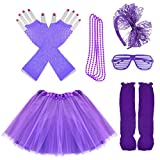 Miayon Kids 6 in 1 Costume Accessories 1970s 1980s Fancy Outfits and Dress for Cosplay Party Theme Party for Girl