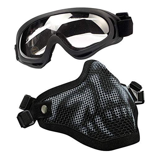 IndependentThose Airsoft Mesh Mask and Goggles Set Adjustable Half Face Full Steel Mesh Mask and Goggles Outdoor Glasses Goggles for Paintball Shooting Cosplay War Game