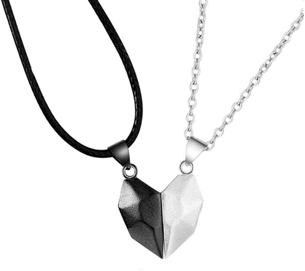 Xindemei Two Souls One Heart Necklace, Creative Couple Neck Chain Magnetic Mutual Attraction Matching Wishing Stone Pendant Necklace