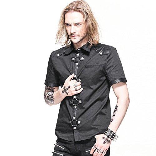 Steampunk Gothic Short Sleeves Men Shirts Blouse Tops Mens Fashion Punk Rock Shirt (S, Black)