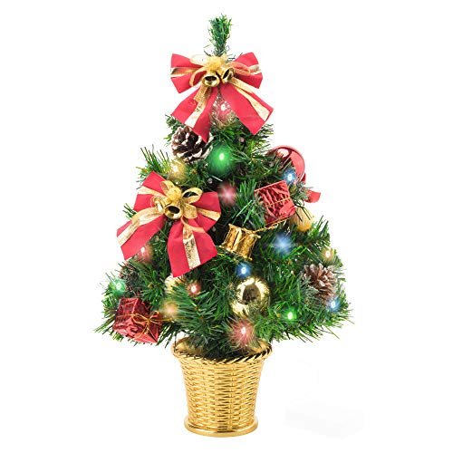 Amasava Small Christmas Tree 45cm Pre Lit Christmas Tree with Multi colour LED Lights Mini Desktop Xmas Trees Decorated with Ornaments Pinecones and Bowknots, Small Gift Box, Christmas Baubles in Gold