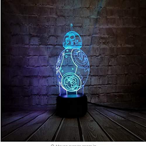 Lampe der optischen Täuschung Star Wars BB-8 Kugel-Roboter 3D führte Nachtlicht-bunten Atsmosphere-Lampen-Notenschalter