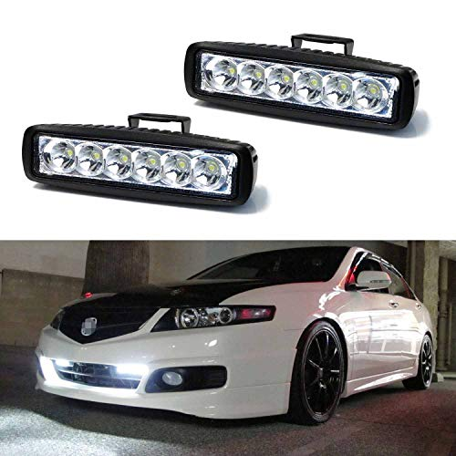 iJDMTOY (2) 18W High Power 6-Osram LED Daytime Running Light Kit, Universal Fit Compatible With Most Car, Truck, SUV, etc