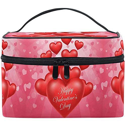 Heureux Maquillage Sac Romantique Coeurs Rouges Sac Cosmétique Trousse De Toilette Portable Zip Brosse Sac Organisateur De Stockage